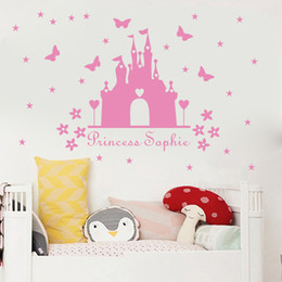 personalised nursery wall stickers NZ - Princess castle WALL sticker with personalised name kids room decor Vinyl wall DECAL nursery room decor