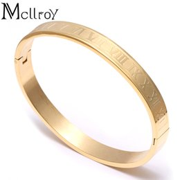 China whole saleMcllroy Stainless Steel Roman Numeral Bangle Bracelet For Women Accessories Gold Cuff Bangle Roman Rose Gold Couples Bracelet cheap stainless steel numerals suppliers