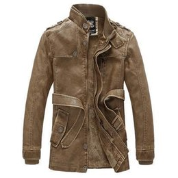 Mens Parka Leather Australia - Leather Jacket men's long wool leather Standing Collar Jackets Coat Warm Outwear parka mens PU leather jackets and coats