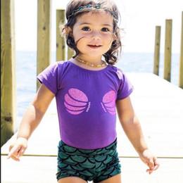 $enCountryForm.capitalKeyWord NZ - NEW Hot Sale Baby Girls Mermaid Swim Sets 2pcs Shell Tops T-shirt + Mermaid Shorts Pants Outfits Set Girl Princess Outfits Suits A9724