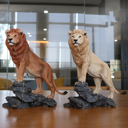 carved figures Australia - 1 10 Lion Model Figures Wild Animals Model Simulation Zoo Toys High Quality Male Lion Toys Collection Home Office Decoration