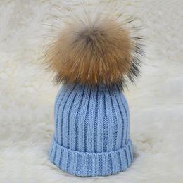 $enCountryForm.capitalKeyWord NZ - 2018 Kids Real Raccoon Fur Pompom Hat Natural Fur Cap Baby Winter Warm Fashion Wholesale   Retail S1523SJ