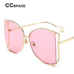9fa7b4bb77 CCspace Oversize D Square Sunglasses Women Metal Frame Fashion Luxury  Hollow Frame Brand Sunglasses Female Gradient Shades 45476