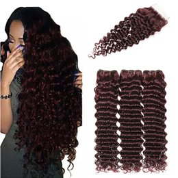 $enCountryForm.capitalKeyWord Australia - 99j burgundy brazilian Deep curly virgin hair with closure brazilian weave bundle with closure meches bresilienne deep wave with closure