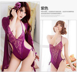 robe sexy v Canada - Hot Sexy Lingerie Satin Lace 2 colors Intimate Sleepwear Robe Sexy Night Gown Women Sexy Erotic Underwear Pajama suit