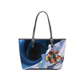 1de4273e4b97 Custom Print Universe Astronaut Skiing Small Leather Bag New European Style Tote  Bag for Young Grils Colorful Handbag