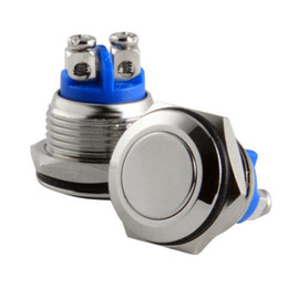 16mm Push Button Switch Australia - Free Shipping 16mm Start Horn Button Momentary Stainless Steel Metal Push Button Switch Hot Worldwide