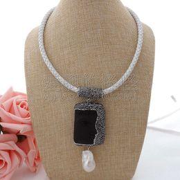 "Necklaces Pendants Australia - N060407 18"" White Leather Necklace Keshi Pearl Black Buddha Pendant"