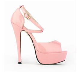 Brown Peep Toe Gladiator Sandals UK - Fashion Summer Women Sandals patent leather solid High Heels thin heel 14cm platform 4cm Female Sandals peep toe buckle strap cross-tied