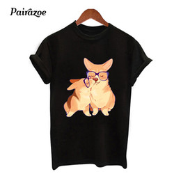 d59d1f29bae Pairazoe corgi dog t shirt women t-shirts funny kawaii corgi printed female  tshirt femme tees black white ladies top clothes