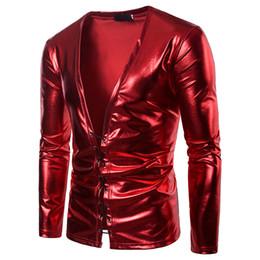 1980576aca4 men t shirt Sexy Bandage Deep V Neck Nightclub T-shirt Men 2018 Brand New  Shiny Red Coated Metallic T Shirt Men Hip Hop Streetwear Tops Tees