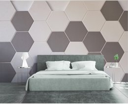 China Custom Retail 3D Solid Geometric Background Wall Pattern Graphic Three-Dimensional Hexagonal Mosaic Mural cheap dimensional wallpaper suppliers