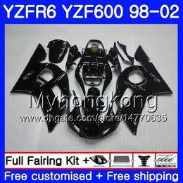 Yamaha Yzf r6 99 online shopping - Body For YAMAHA YZF R6 YZF600 YZFR6 ALL Glossy black HM YZF YZF R600 YZF R6 Fairings