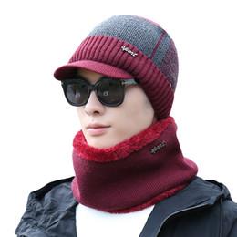 balaclava knitting 2018 - Fashion Brand Winter Set Hats Skullies Beanies Knitted Men Hat Warm Mens Wool Scarf Caps Balaclava Mask Gorras Bonnet Ha