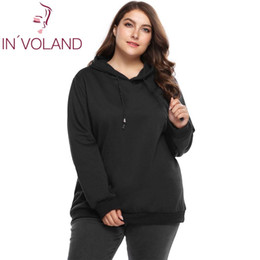 1bacfbdc39ae IN VOLAND Plus Size Women Hooded Hoodies Coat XL-5XL Spring Autumn Long  Sleeve Fleece Drawstring Solid Pullover Tops Big Size C18110601