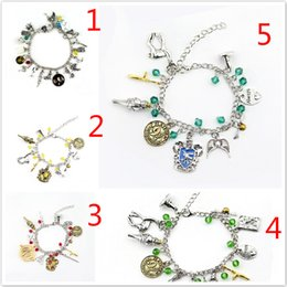 Harry Bracelet NZ - 20pcs Retro Harry Game of Thrones Walking Dead Suicide Squad Mixed Bracelets Shelock Golden Snitch Charm Potter Jewelry for Women 5 styles