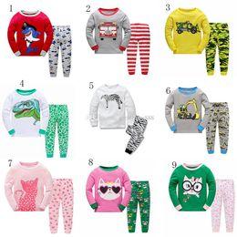 45 pants online shopping - 2018 new baby pajamas outfits cotton boys girls Animal dinosaur print top pants set cartoon kids Clothing Sets styles C3371