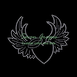 China Cheap Heart and Wings Iron On Rhinestone Transfer Hot fix Applique  For Girls 20pcs 217f2c578c52