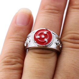 Red Indian Costumes Australia - Anime Naruto Ring Red Sharingan Pattern Cosplay Jewelry For Women Men Gift Costume Accessories Rings