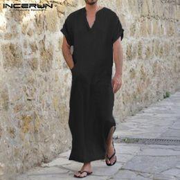 bb824ee5ed INCERUN S-5XL 2018 Summer Short Sleeve Men Loungewear V-neck Solid Full  Length Robes Vintage Loose Home Sleepwear Pajamas Men