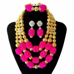 Halloween Indian Costumes For Women UK - Pink and Gold 3 Row Bridal Costume Crystal Necklace African Beads Jewelry Set Nigerian Wedding Beads Necklace for Women
