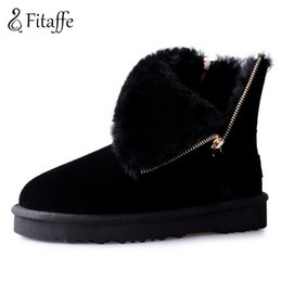 Warm suede boots for Women online shopping - Fitaffe Fashion Cow Suede Winter Ankle Boots For Woman Warm Short Boots Footwears Solid Zipper Platform Fur Zapotos Mujer GD078