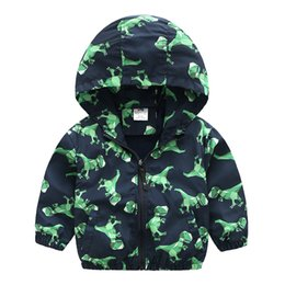 32b7d5890a4b Dinosaur Printing Children Outerwear Coats 2018 Spring Autumn Cartoon Hooded  Jackets For Boys Baby Coat Kids Casual Windbreaker