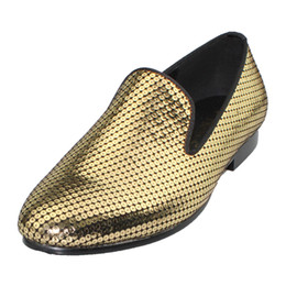 7df6fced9eb Gold Glitter Flat Shoes UK - Harpelunde slip on dress shoes leather gold  sequined flat shoes