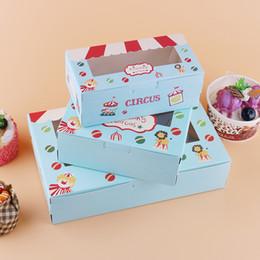 Cakes for kids bake online shopping - 500 Paper box windows kids birthday circus cake kraft gift paper packaging box for baking sweet candy cookies supplier