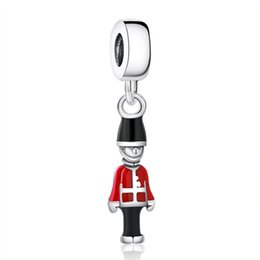toy soldiers Australia - New Red Black Enamel Toy Soldier Charm Beads Authentic 925 Sterling Silver Soldier Pendants For Women Bracelet Diy Jewelry Making HB483
