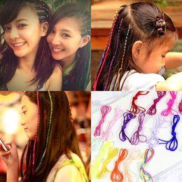 Blue Hair Ponytail Australia - 10pcs Rainbow Color Headband Cute Girls Hair band Crystal Long Elastic Hair Bands Headwear Hair Accessories Random Color