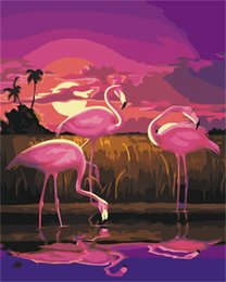 $enCountryForm.capitalKeyWord NZ - 16x20'' DIY Paint On Canvas drawing By Numbers Kits Sunset the Flamingos at Beach Art Acrylic Oil Painting Frame For Adults