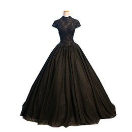 $enCountryForm.capitalKeyWord UK - Real Photo Black Ball Gown Evening Dresses Long High Neck Short Sleeve Beading Appliques Tulle Evening Gowns Vestido De Festa Robe De Soiree