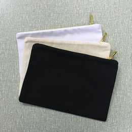black white gold clutch bag Canada - blank natural cotton cosmetic bag 12 ounce canvas cosmetic case plain black makeup bag white clutch bag 7x10 inches with gold metal zipper