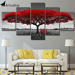 Panels Scenery Canvas Art Prints Australia - ArtSailing 5 panel painting print painting canvas art red tree scenery modular pictures large wall pictures for living room