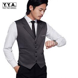 dc4c5eb2e8c Wholesale-High Quality New Fashion Hot Dress Mens Wedding Sleeveless Suits  Lapel Formal Slim Fit Waistcoat Vests Plus Size Black Gray