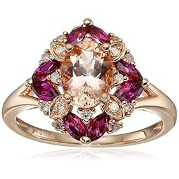 Rose Gold Cluster Engagement Rings Australia - Women Antique Vintage Gemstone 2.36CT Morganite Diamond 18 K Rose Gold Bridal Wedding Engagement Ring Size 6-10