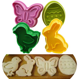 Cookies Plunger Mould UK - 4pcs lot Animal Shape Easter Cookie Plunger Cake Decoration Mold Pastry Cookies Cutter Baking Mould Fondant Sugar Craft Mold