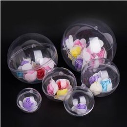 Ball Box plastic online shopping - Christmas Ornament Plastic Ball Round Hollow Flower Preservation Holder Transparent Candy Box Hanging Novelty Items CCA9814