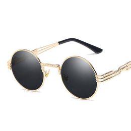 76db83809c6f6 Gothic Steampunk Sunglasses Men Women Metal WrapEyeglasses Round Shades  Brand Designer Sun glasses Mirror High Quality UV400