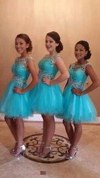 Abiti Homecoming turchese 2018 Breve Prom Party Gown Una linea Backless Tulle Pieghe perline Cristalli Laurea Dress Custom Made Plus Size