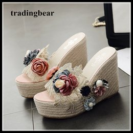 $enCountryForm.capitalKeyWord Canada - Mori girl flower straw woven summer sandals women high heels designer shoes platform wedge slipper 2018 size 34 to 40