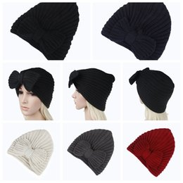 acff19ad636413 Skull caShmere online shopping - 5Colors Girls Bowknot Knitted Caps Women  Winter Crochet kint Hat Female