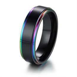 $enCountryForm.capitalKeyWord UK - Free Engraving 6mm Rainbow IP Stepped Edges Black Wedding Band Rings in Stainless Steel