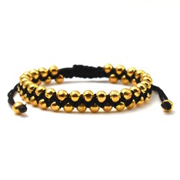 $enCountryForm.capitalKeyWord UK - New Arrival Stretch Style Various Gold Silver Bronze Double Braided Woven 5MM Bead Bangles Adjutable Macrame Bracelets