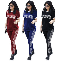 $enCountryForm.capitalKeyWord Canada - Women Autumn Suits Letter Printed Casual T-Shirt Top And Long Sports Pants Two Piece Set For Daily Wear Free Shipping Q153