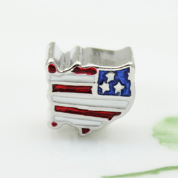 39072d39a Patriotic Proud To Be American Flag Country Of USA Map national European  spacer bead metal charm bracelets Pandora Chamilia Compatible