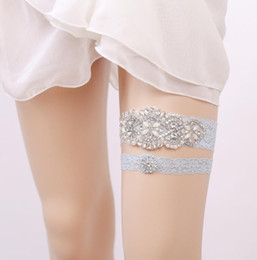 7e808c36282 Hot Sell 2 Piece Set Light Blue Lace Bridal Garters for Wedding Party Lace  Bridal Garter with Rhinestone Bridal Accessories