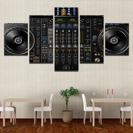 $enCountryForm.capitalKeyWord Australia - Wall Art Canvas Pictures Home Decor Framework 5 Pieces Music DJ Console Instrument Mixer Paintings Prints Night Club Bar Posters