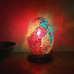 stained glass desk lamps 2019 - Egyptian egg desk lamp bedroom bedside Night Lamp Retro romantic exotic hand mosaic glass desk lamp discount stained gla